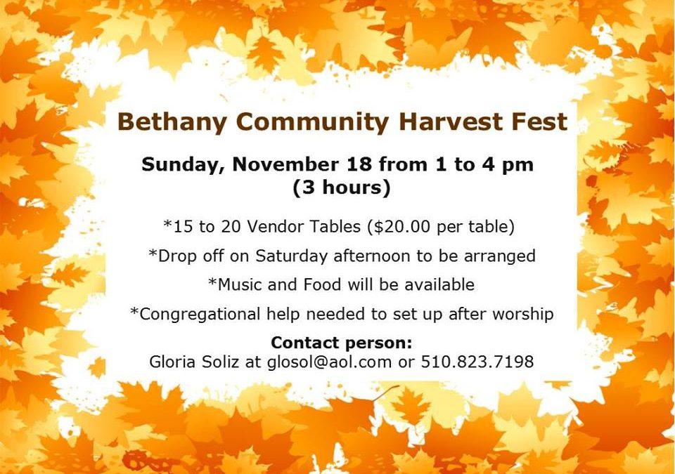 CANCELLED: Bethany Community Harvest Festival, November 18, 2018