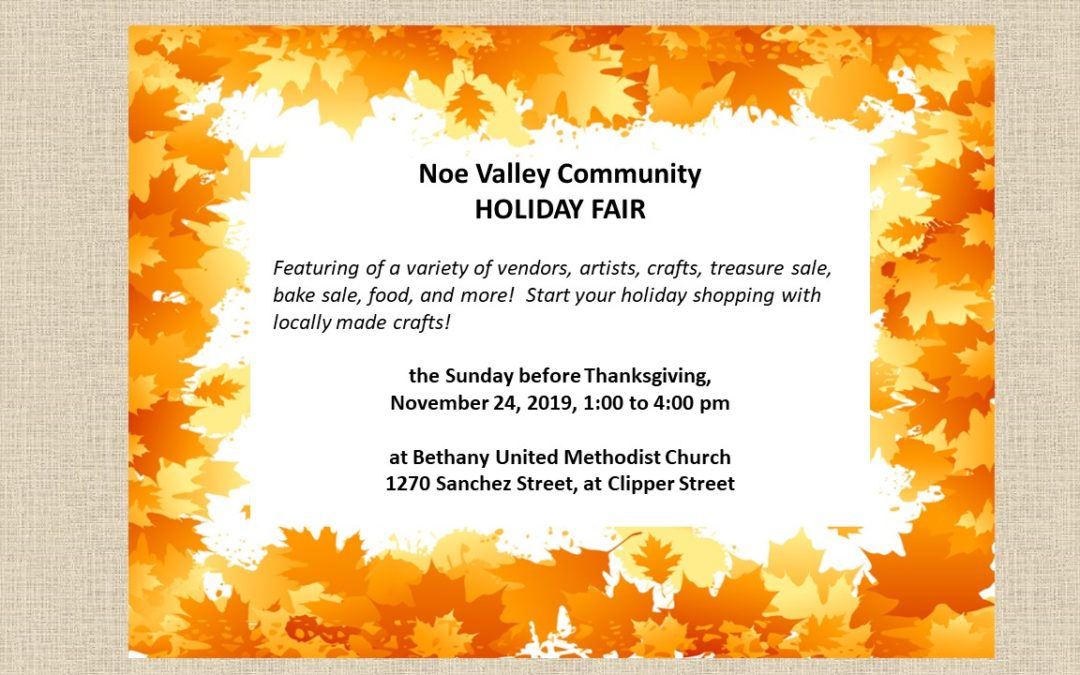 Holiday Fair, November 24th, 1-4 pm