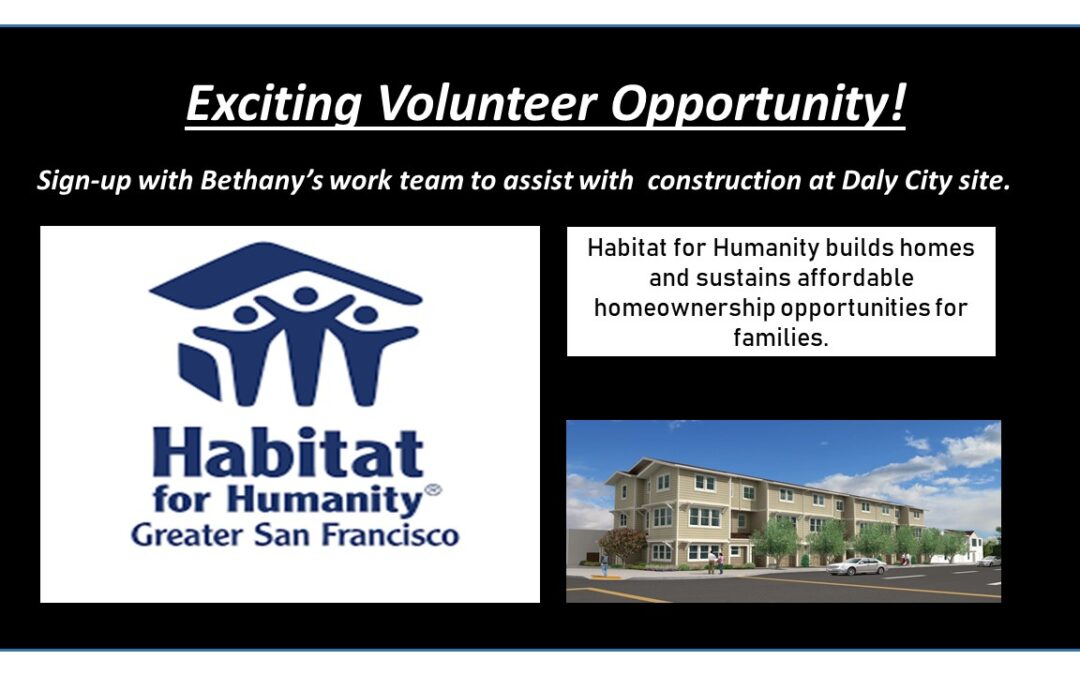 Exciting Volunteer opportunity — with Habitat for Humanity!